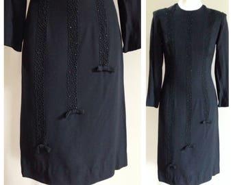 Vintage 1960s - black crepe acetate long sleeve sheath fitted wiggle dress - soutache & bows detail - M medium - 34 bust 28 waist