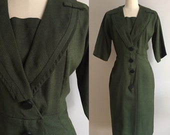 Vintage 1950s / 1960s 60s - pinup rockabilly 3/4 sleeve green black houndstooth wiggle dress - bows detail - Large - 38 bust 31 waist