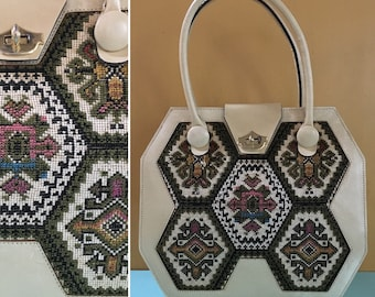 Vintage 1970s - large off white vinyl structured octagonal top handle purse / handbag - multicolored geometric embroidery - accessories