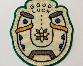 GOOD LUCK horseshoe with pink flower patch