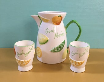 Vintage 1950s - 3 piece midcentury atomic white ceramic 'Good Morning' breakfast pitcher & cups serving set - fruit design
