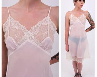 Vintage 1950s - sexy pink & white lace Saks Fifth Avenue crepe chiffon sheer slip / dress