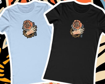 FAST DOLL Women's Hand & Rose Tattoo Jersey Short Sleeve Fitted Tee - Black or Baby Blue
