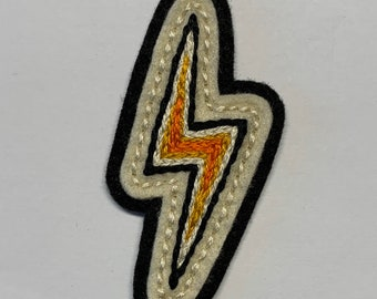 Yellow & orange small lightning bolt collar patch