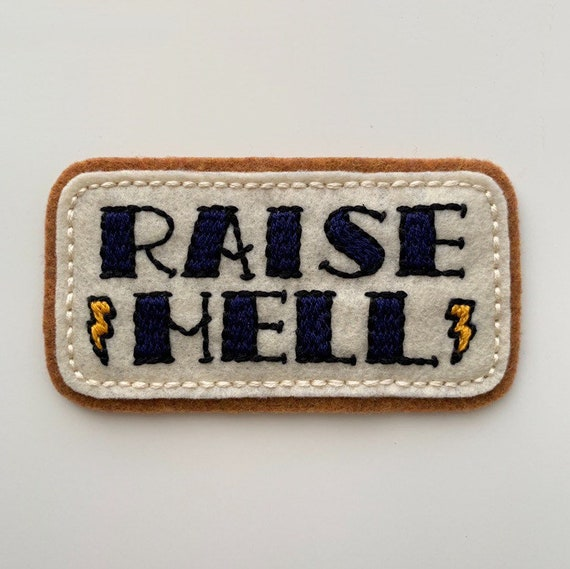 Handmade / hand embroidered tan & off white felt patch - 'Raise Hell' - vintage style - traditional tattoo flash lettering