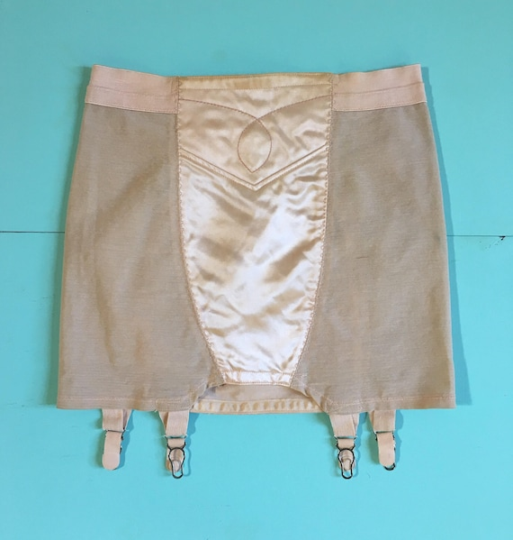 Vintage 1950s - pinup pink satin nylon girdle shaper waist cincher / garter belt lingerie - S M small medium - 25 waist 30 hips unstretched