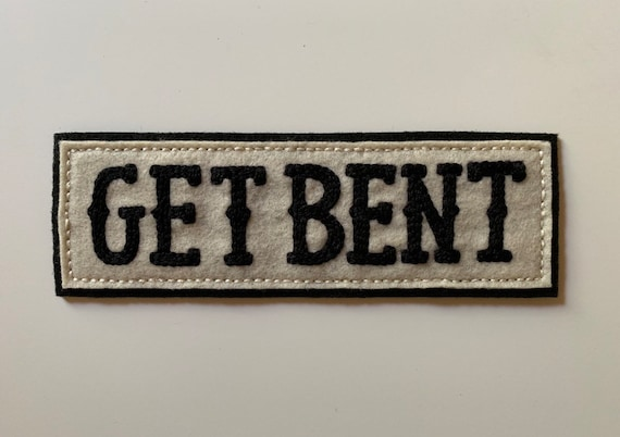 Handmade / hand embroidered black & off white rectangular felt patch - 'GET BENT' - vintage motorcycle style - western lettering