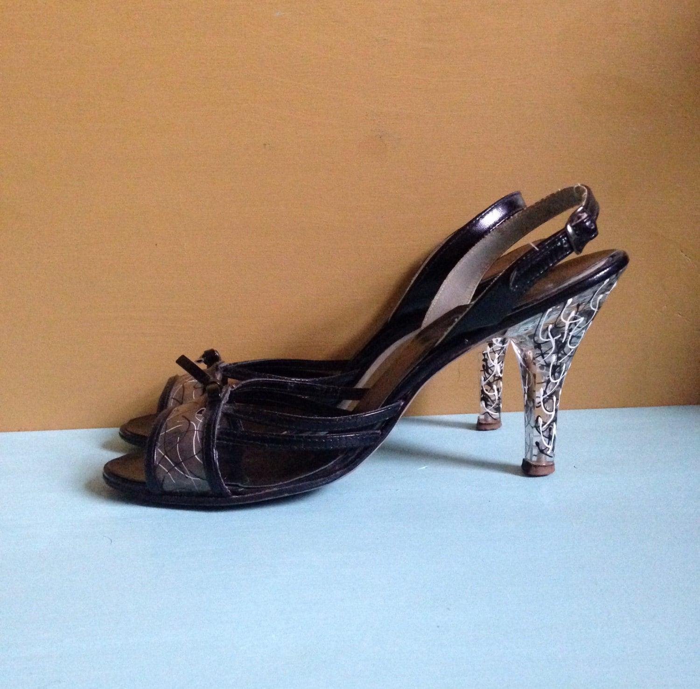 c4c7d68e282a Vintage 1950s - black   white bad girl patent leather peeptoe ...
