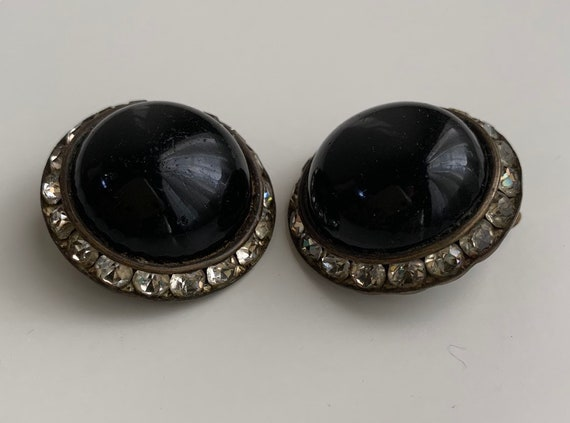1950s / 1960s - large round black circle clip on earrings - clear rhinestones detail