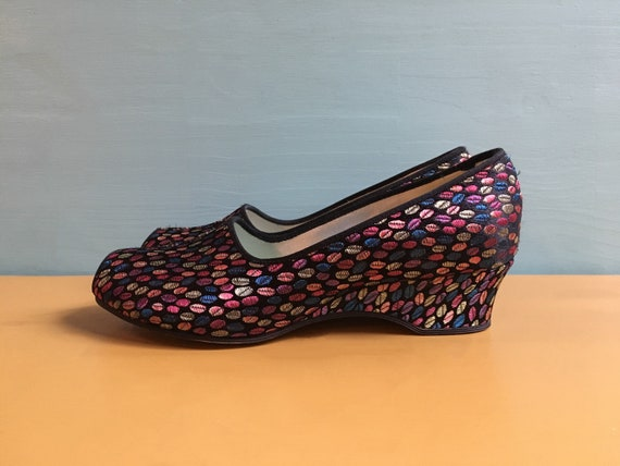 519f4e58d39 Vintage 1960s - women s black   multicolored polka dots Daniel Green peep  toe slippers   house