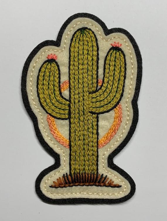 Green southwestern saguaro cactus felt patch