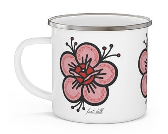 Fast Doll indoor / outdoor white pink flower enamel coffee or tea mug