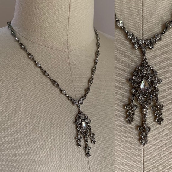 1950s - silver tone metal pendant necklace with clear rhinestones - art deco style - costume jewelry