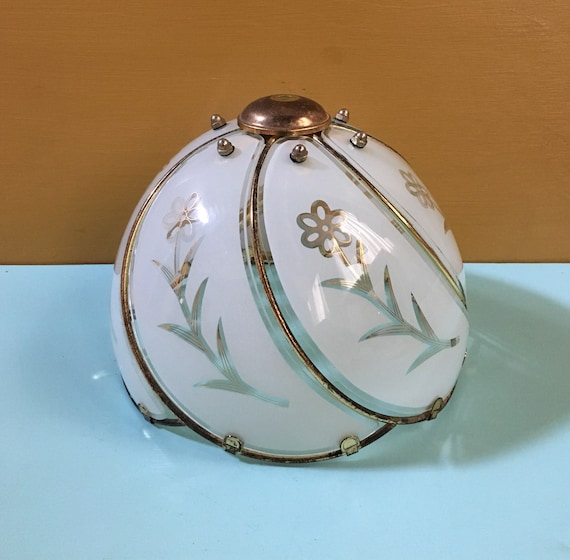 Vintage 1960s - mid century gold metal & white glass floral daisy dome globe cover / lampshade - light fixture  / home bedroom decor