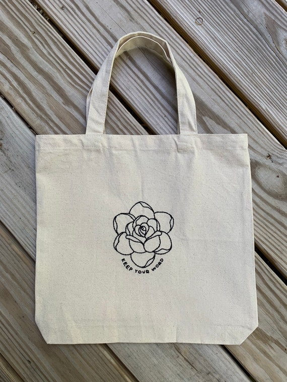 'Keep Your Word' with traditional rose hand-stitched canvas tote bag