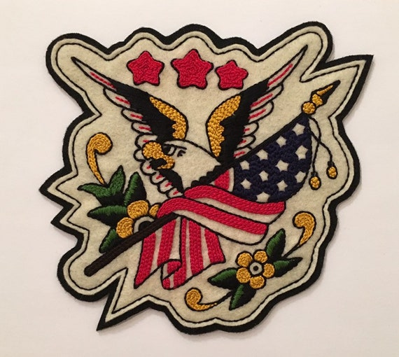 Large Sailor Jerry American bald eagle and flag patch
