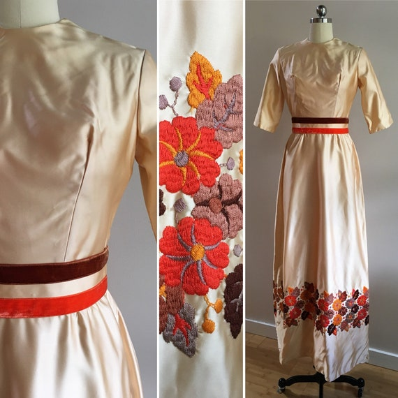 Vintage 1960s - women's half sleeve peach satin dress - brown orange yellow flowers leaves embroidery - velvet belt - S - 36 bust 26 waist