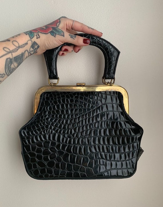 1950s / 1960s - small structured black faux gator top handle purse with unique shape