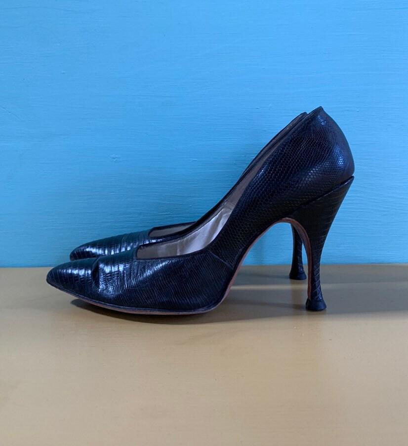 2df71488f13d Vintage 1950s   1960s - women s glam black leather alligator   lizard ...