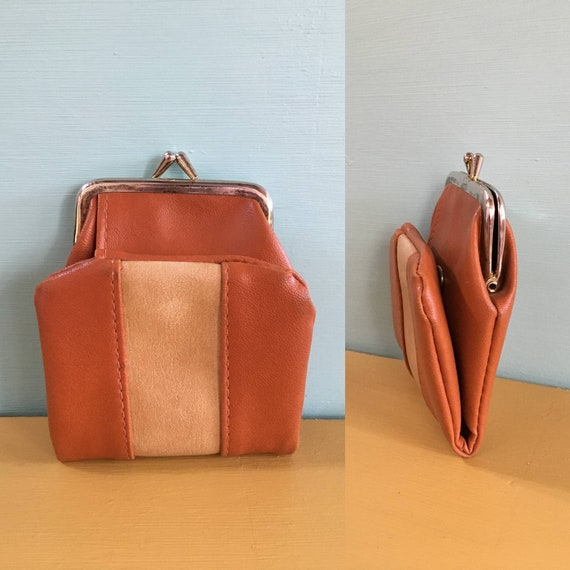 Vintage 1970s - women's brown & tan vinyl folding snap wallet - change purse - billfold - purses / handbags accessories