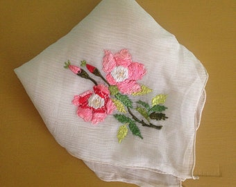 Vintage 1940s - sheer white hand silk organza scarf / handkerchief - pink & green floral hand embroidery - accessories
