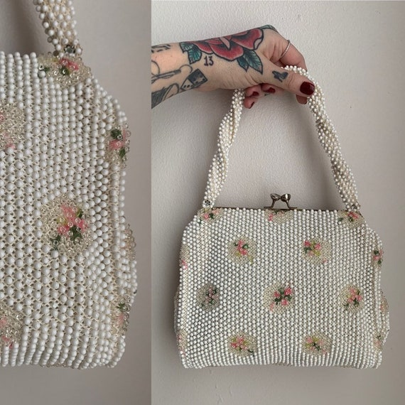 1950s / 1960s - soft square white, pink & green floral embroidery beaded top handle purse