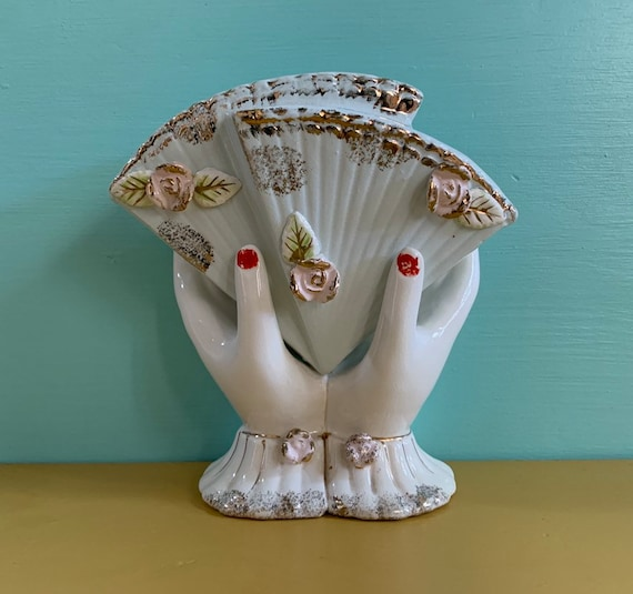 Vintage 1950s - midcentury white ceramic lady hands & light blue fans vase - red nail polish - roses detail - vanity / home / bathroom decor