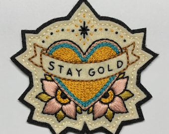 'Stay Gold' heart with banner and pink flowers patch