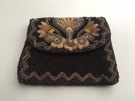 Vintage 1930s / 1940s - small brown Longchamps embroidered & beaded clutch purse / handbag - art deco fan design - top flap - snap closure