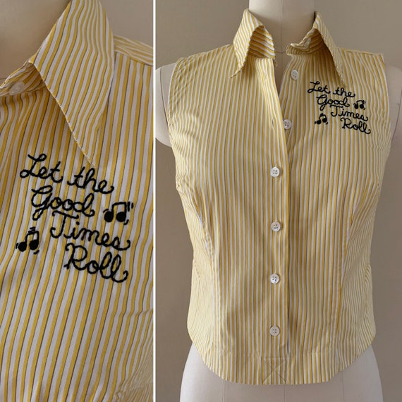 Women's yellow & white striped 'Let the Good Times Roll' sleeveless crop top - size 4 - S/M