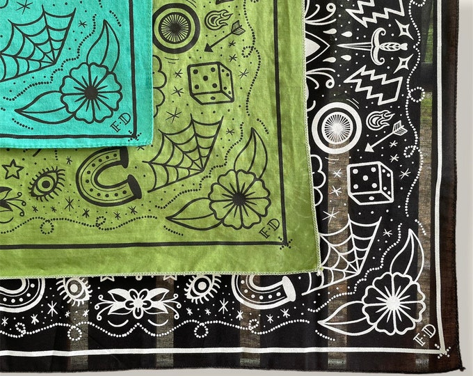 Featured listing image: Fast Doll original screen printed tattoo flash bandana - black, teal blue or olive green