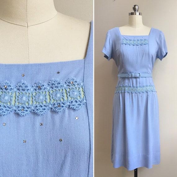 Vintage 1950s 50s 50's rockabilly light blue short sleeve cotton fitted wiggle dress lace ribbon rhinestones belt L large 38 bust 31 waist
