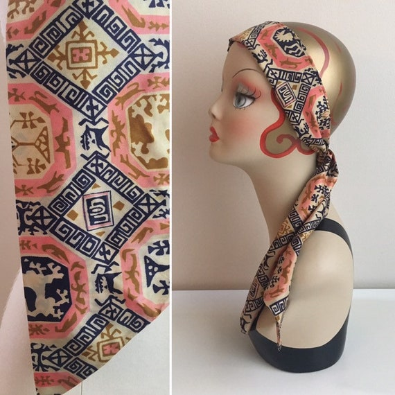 Vintage 1960s - boho hippie pin,k blue & gold geometric tribal print headband / neck head scarf - accessories