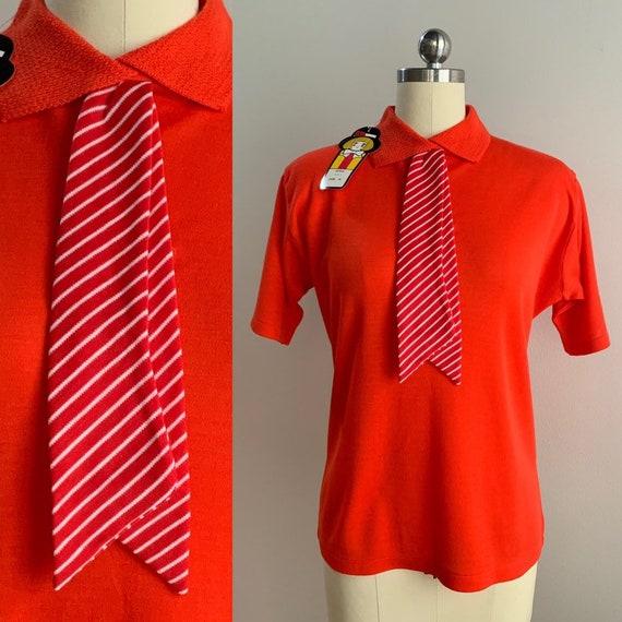 1960s - women's short sleeve orange knit deadstock sweater top / shirt - L large - 40 bust 36 waist