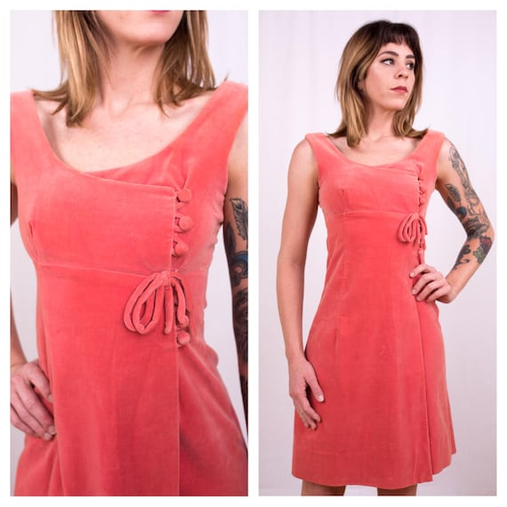 Vintage 1960s - pink velvet sleeveless empire waist wrap style short mini dress - matching buttons bow detail - S / M small medium - 33 bust