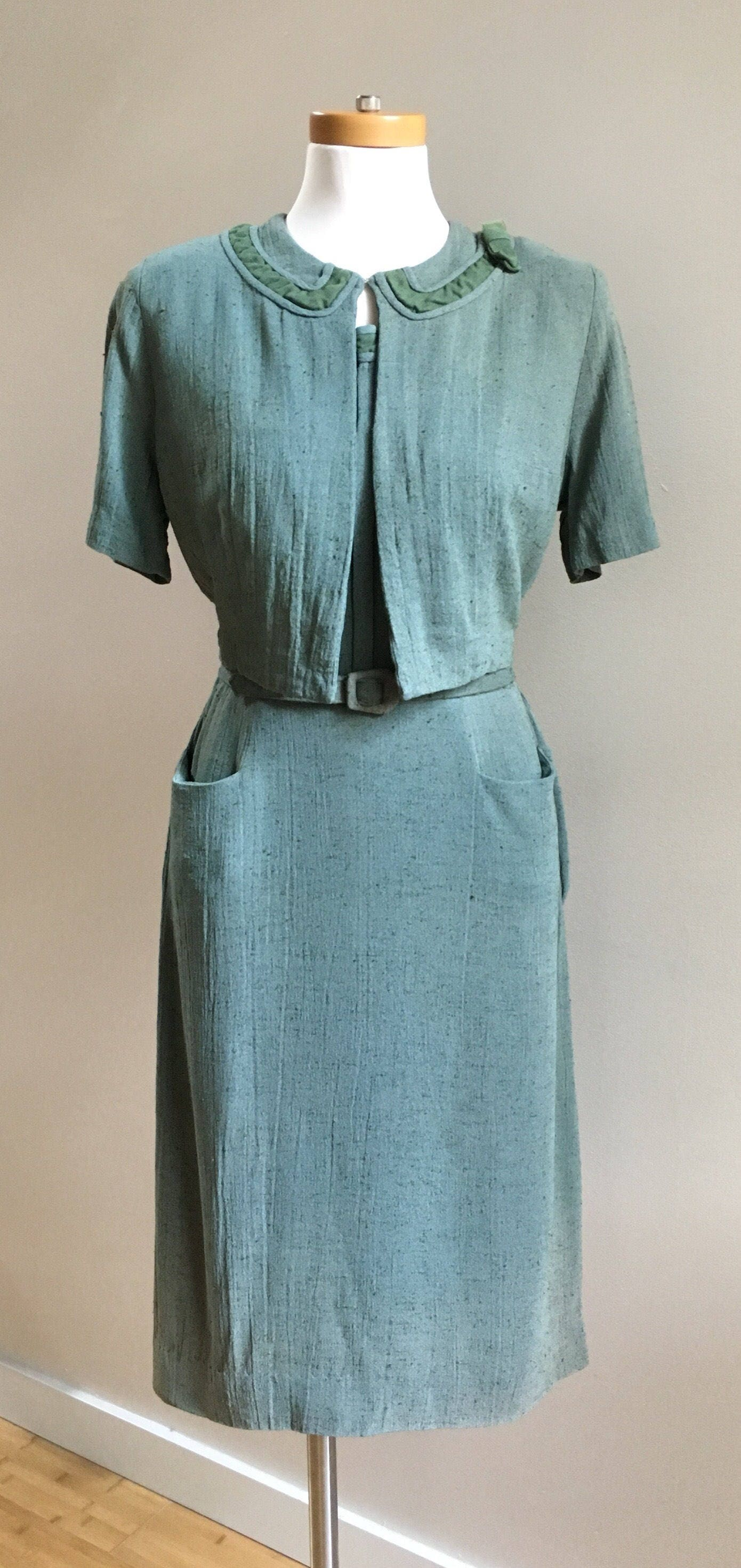 Vintage 1950s Pinup Green Teal Linen Cotton Fall