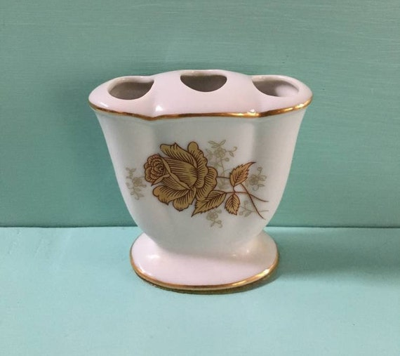 Vintage 1950s / 1960s - midcentury small white & gold ceramic painted rose floral vase - gold trim detail - home bathroom vanity decor