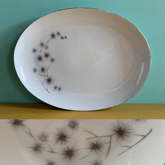 Vintage 1950s - mid century atomic large white fine china oval serving platter / plate - silver & brown floral branch starburst design
