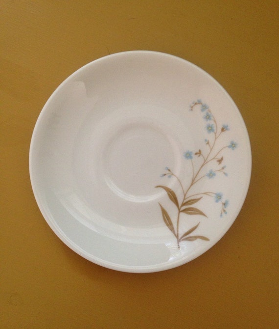 Vintage 1950s 50s 50's midcentury single small white floral coffee tea cup saucer plate fine china blue flowers floral