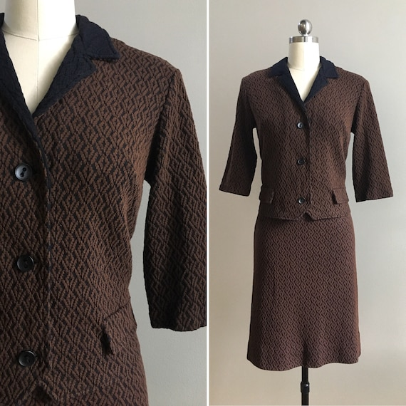 Vintage 1960s - women's mid century Mad Men style brown & black diamond geometric knit jacket and skirt suit set - Medium - 36 bust 29 waist