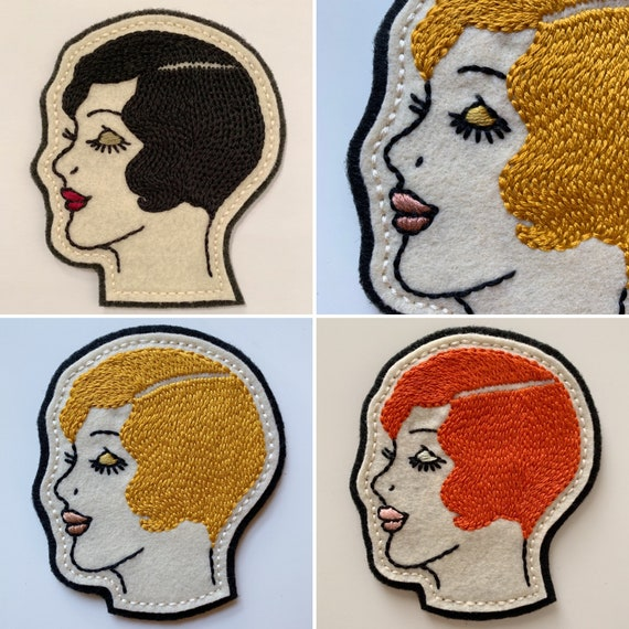 Handmade / hand embroidered off-white & black felt patch - 1920s lady head - vintage style - traditional tattoo flash