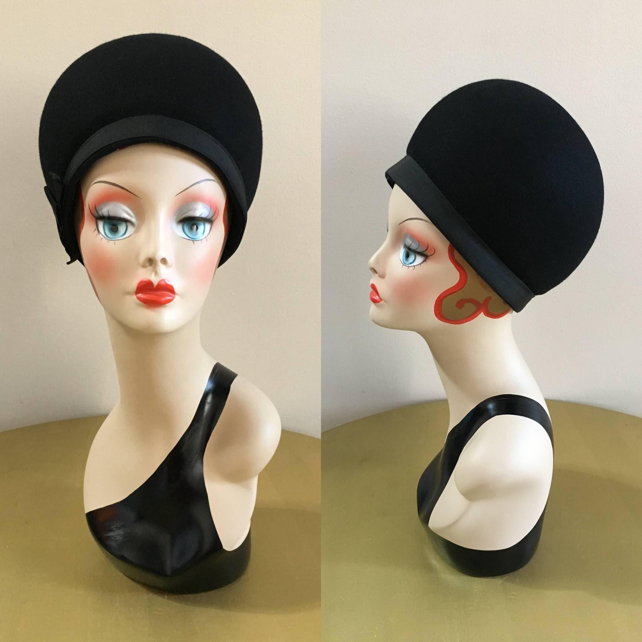 6d8e473f874 Vintage 1960s - women s glam black round dome wool felt Miss Lilli ...