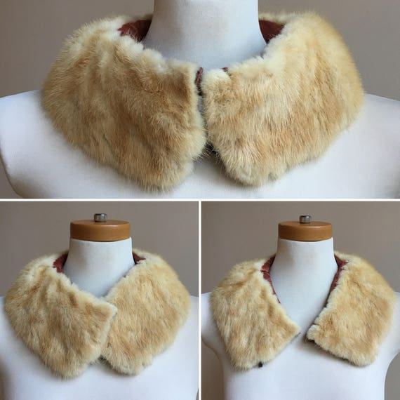 Vintage 1930s - pinup glam white creme mink fur collar - deep red satin lining - hook & eye closure - accessories