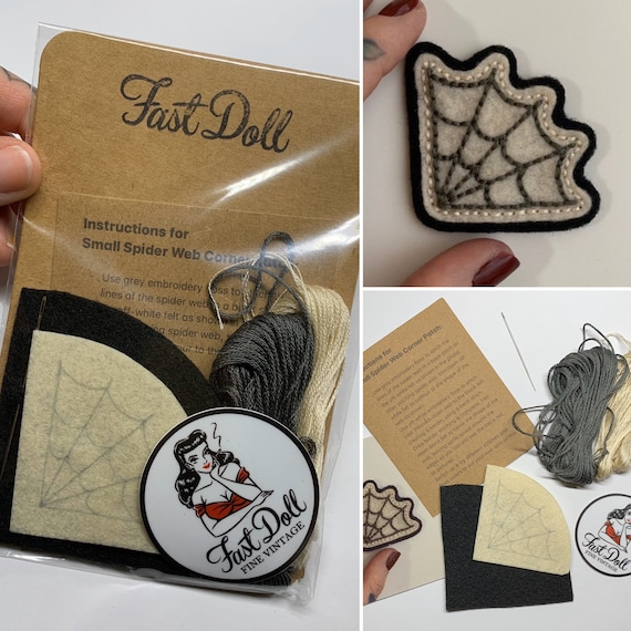 Fast Doll DIY hand-stitch felt patch kits - 'Mama Tried', spiderweb, cherries, skull, 'Stay Gold' heart, crescent moon or 'Mama TIRED'