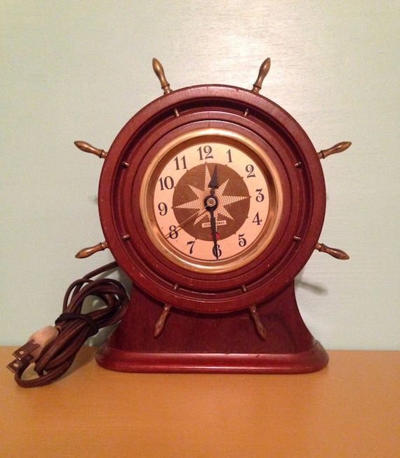 Vintage 1940s 40s 40's 1950s 50s 50's midcentury dark wood captain's wheel nautical sailing electric mantle clock starburst detail WORKS