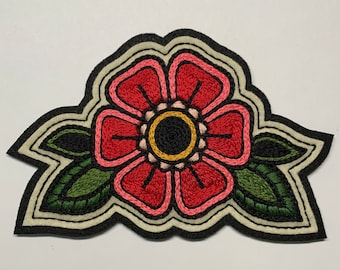 Large red and pink flower patch