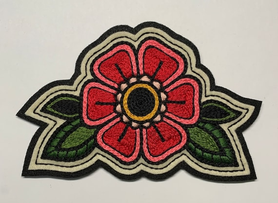 Handmade / hand embroidered black & off white felt patch - large red and pink flower green leaves - vintage style - traditional tattoo flash