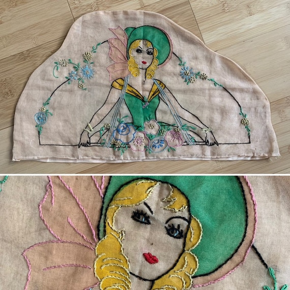 Vintage 1930s - hand embroidered blonde pin up girl with green bonnet & dress - floral design - home / wall decor