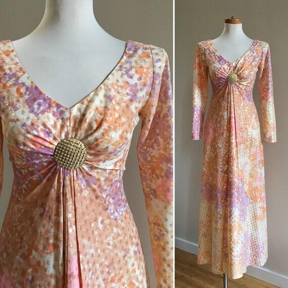 Vintage 1960s - orange, pink & purple floral v-neck long sleeve maxi dress - gold rhinestone brooch - lamé detail - S - 34 bust 28 waist