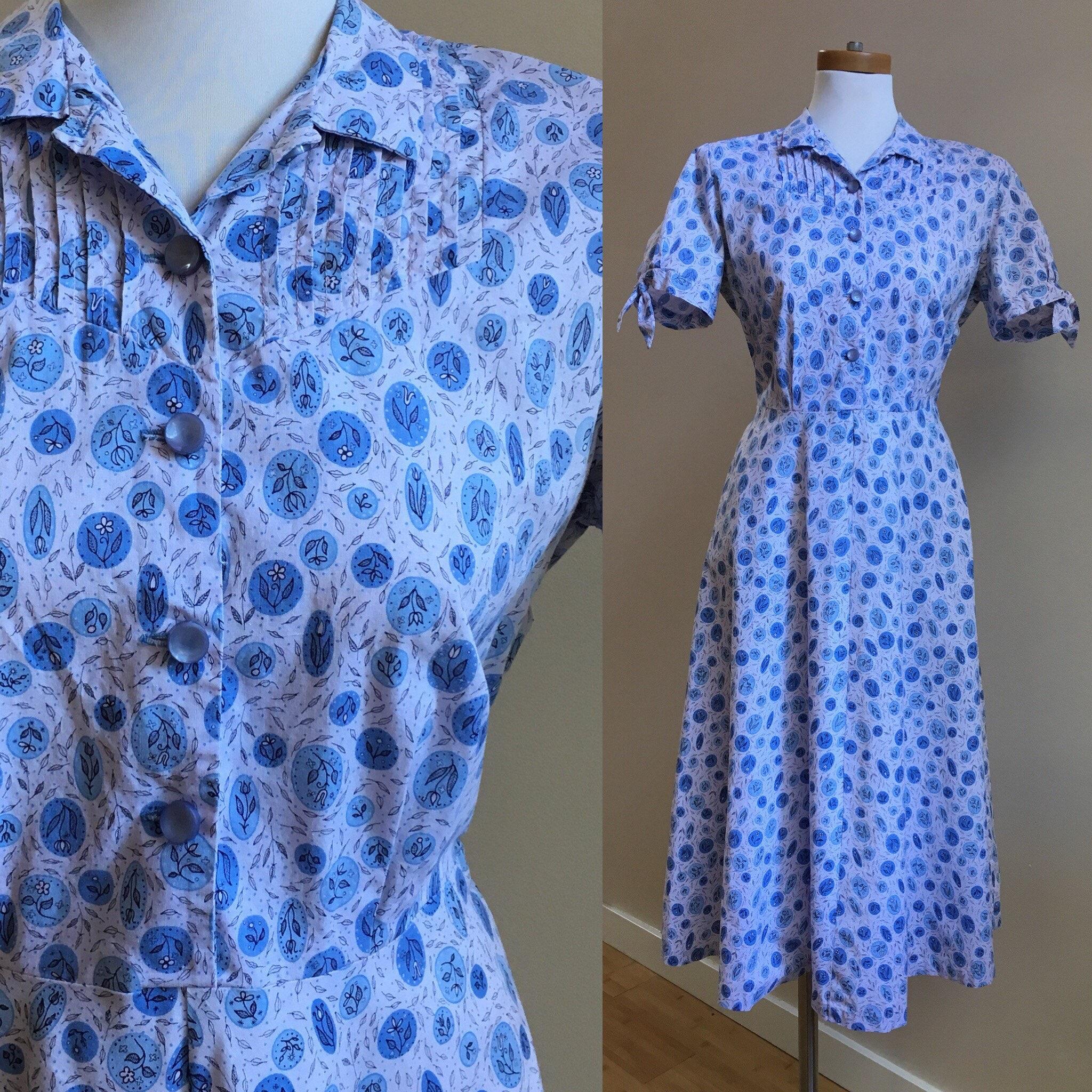 8544ead951 Vintage 1950s 50s 50's rockabilly short sleeve white blue floral novelty ...